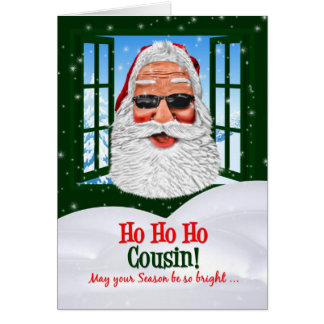 for a Cousin Cool Santa Christmas Greeting Card