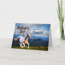 for a Cowgirl on Mother's Day Horse Barn Wood Card