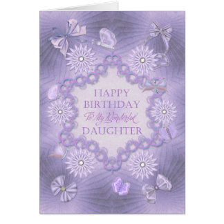 For a daughter, lilac birthday card with flowers