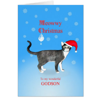 For a godson, Meowwy Christmas cat Greeting Card