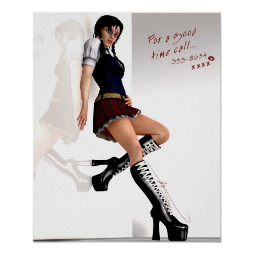 For A Good Time schoolgirl pinup Poster