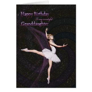 For a granddaughter, a ballerina birthday card
