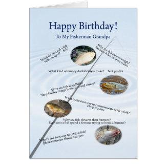 For a grandpa, Fishing jokes birthday card