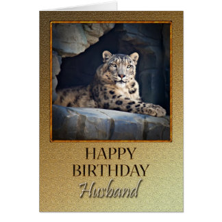 For a husband a Birthday with a snow leopard Greeting Cards