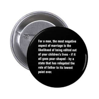 For A Man, The Most Negative Aspect of Marriage … Pinback Button