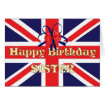 For a sister, a Birthday card with a Union Jack