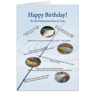 For a son-in-law, Fishing jokes birthday card