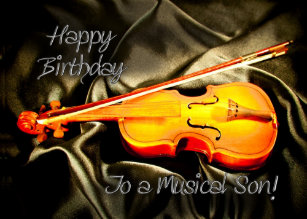 For A Son Musical Birthday Card With Violin