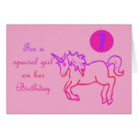 For a special girl on her Birthday Unicorn 7th Greeting Cards