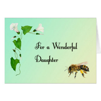 For a Wonderful Daughter Honey Bee Birthday Wishes Card