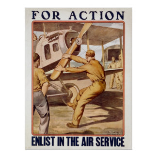 For action enlist in the Air Service restored Poster
