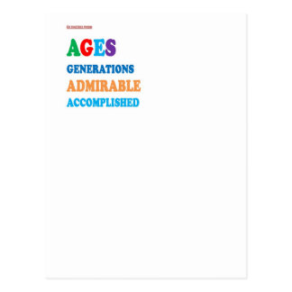 For AGED and ACCOMPLISHED : greetings GIFTS ACK Postcard