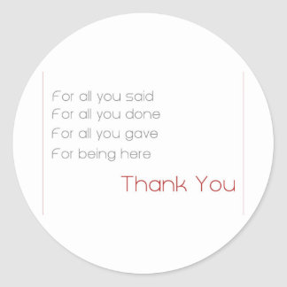 for all - thank you classic round sticker