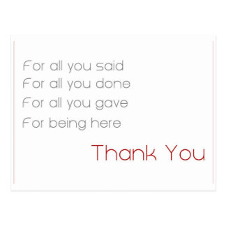 for all - thank you postcard