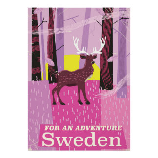 For an Adventure Sweden retro travel poster