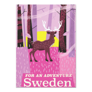 For an Adventure Sweden retro travel poster Card