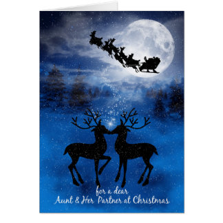 for Aunt and her Partne Christmas Kissing Reindeer Card
