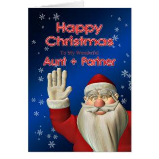 For Aunt and partner, a Santa waving Card