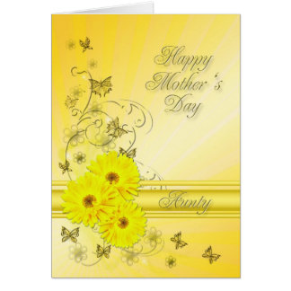 For Aunty, Mother's Day with yellow flowers Card
