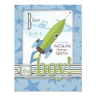 "For Baby Boy Invitation Card 2 4.25"" X 5.5"" Invitation Card"