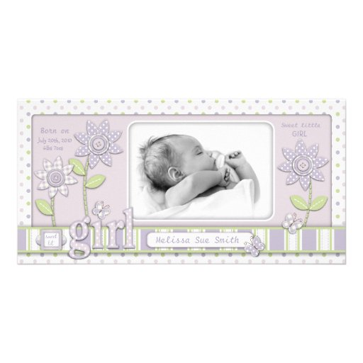 For Baby Girl Announcement LG Photo Greeting Card