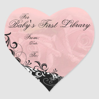 """""""For Baby's First Library"""" Book Plate Heart Sticker"""
