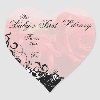 """""""For Baby's First Library"""" Book Plate - Red Heart Sticker"""
