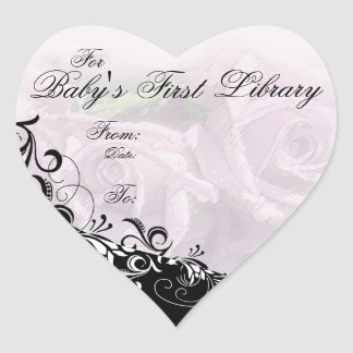 """""""For Baby's First Library"""" Book Plate - Silver Heart Sticker"""