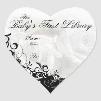 """""""For Baby's First Library"""" Book Plate - White Heart Sticker"""