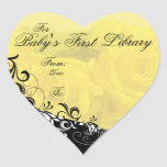 """""""For Baby's First Library"""" Book Plate - Yellow Heart Sticker"""