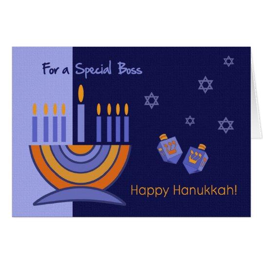 For Boss on Hanukkah Greeting Card
