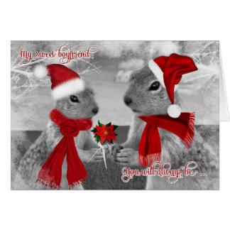 for Boyfriend Romantic Christmas | Squirrel Love Greeting Card