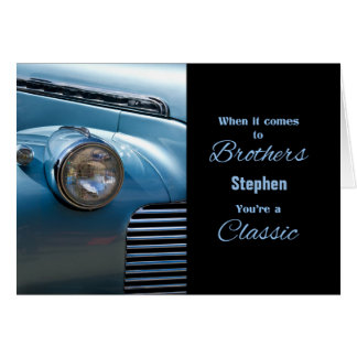 for Brother Blue Classic Car Themed Birthday Card
