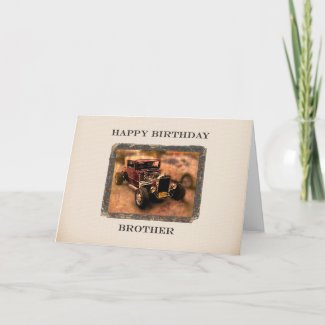 For Brother Classic Car Themed Birthday Card