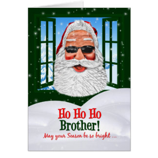 for Brother Cool Hipster Santa Christmas Card