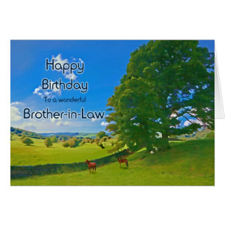 For Brother-in-Law, a Pastoral landscape Birthday Card