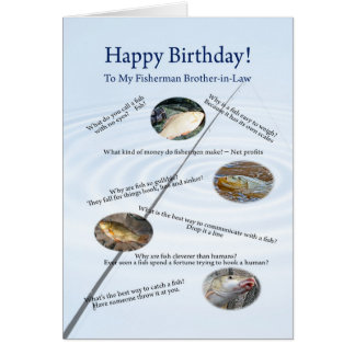 For brother-in-law, Fishing jokes birthday card