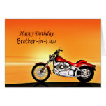 For Brother-in-law, Motorcycle sunset birthday Cards