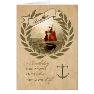 for Brother's Birthday Sailing the Seas Theme Card