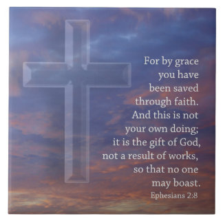 For by grace  cross and sunset large square tile