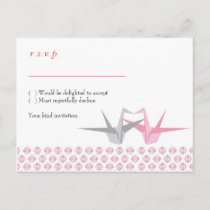 For Carrie: Origami Cranes (Pink Silver) RSVP Invitation Postcard