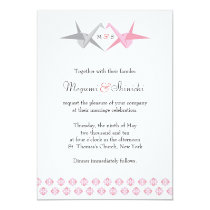 For Carrie: Origami Cranes (Pink & Silver) Wedding Invitation