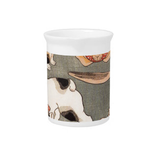 For cats in different poses by Utagawa Kuniyoshi Drink Pitcher