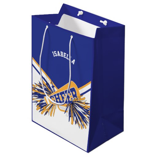 For Cheerleaders  - White, Blue and Gold Medium Gift Bag