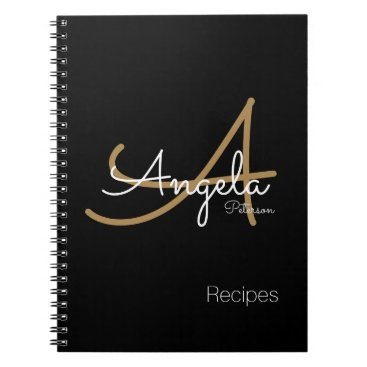 mixedworld for chef recipes a modern monogrammed black notebook