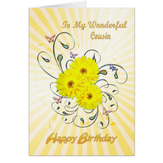 For Cousin birthday card with yellow flowers
