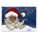 For Dad, A Black Santa With Snow Merry Christmas Greeting Card