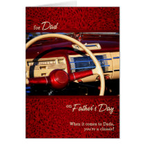 for Dad Father's Day Red Classic Car Father's Day Card