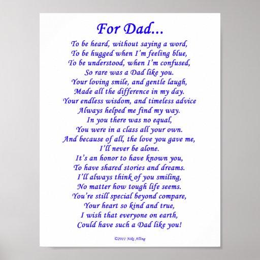 For Dad Memorial Poem Poster | Zazzle