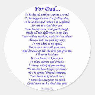 For Dad Poem Classic Round Sticker